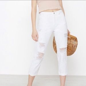 Ripped white high rise mom jeans